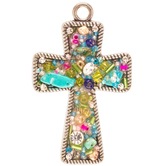 Beaded Mosaic Cross Pendant