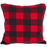 Gray & Red Buffalo Check Knitted Pillow Cover