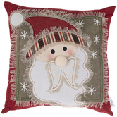 Santa Linen & Burlap Pillow