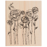 Ranunculus Field Rubber Stamp