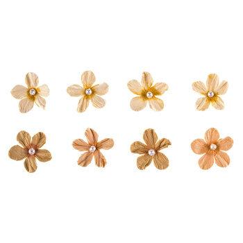 Tan Pearl Petite Paper Flower Embellishments