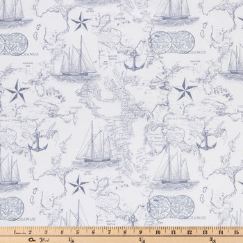 Nautical Map Apparel Fabric