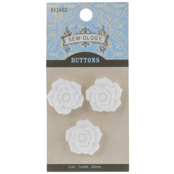 White Rose Shank Buttons - 22mm