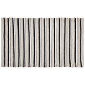 Black, Natural & White Striped Rug