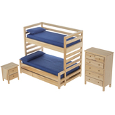 Natural & Blue Bunk Bed & Furniture