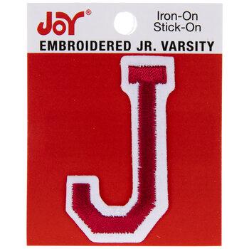 "Red Junior Varsity Letter Iron-On Applique J - 2"""