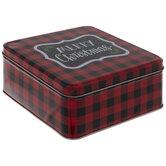 Buffalo Check Merry Christmas Tin Box