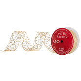 "Gold Glitter Scroll Sheer Wired Edge Ribbon - 2 1/2"""