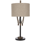 Brown Beaded Metal Lamp