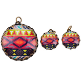Bright Tribal Round Glass Charms