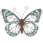 Turquoise Butterfly Metal Wall Decor