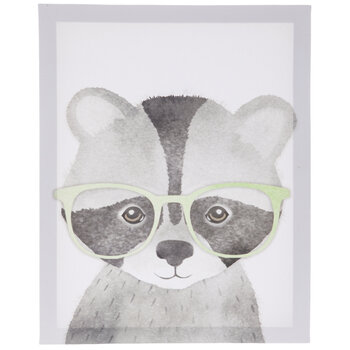 Raccoon With Glasses Canvas Decor