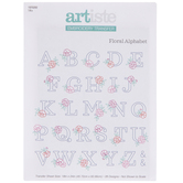 Floral Alphabet Embroidery Transfer Sheet