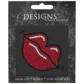 Red Lips Rhinestone Iron-On Applique