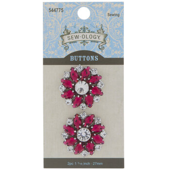 Rhinestone Flower Shank Buttons - 27mm