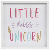 Little Miss Unicorn Wood Wall Decor