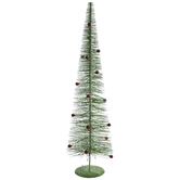 Green Glitter Flocked Tree With Ornaments - Medium