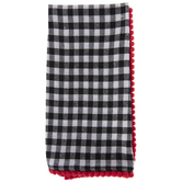 Black & White Buffalo Check Pom Pom Napkin