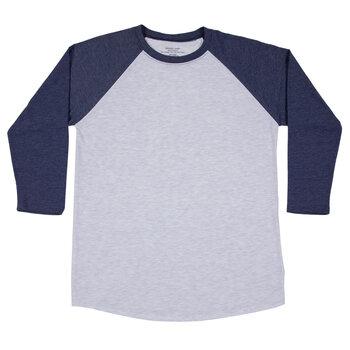 Heather Gray & Navy Adult Baseball Shirt - Large