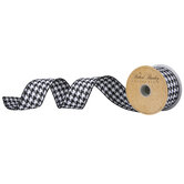 """Black & White Houndstooth Wired Edge Ribbon - 1 1/2"""""""