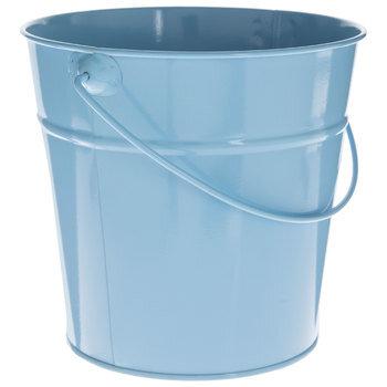 Soft Blue Metal Bucket - Medium