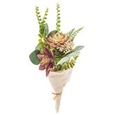 Green & Red Succulent & Berry Cloth Wrapped Bouquet