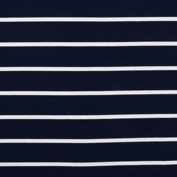 Navy & Ivory Striped Knit Fabric