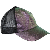 Iridescent Purple Glitter Mesh Baseball Cap