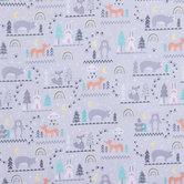 Woodland Animals Cotton Calico Fabric