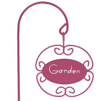 Pink Metal Garden Sign