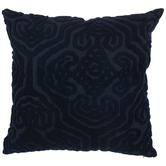 Dark Blue Embroidered Pillow Cover