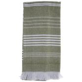 Green Striped & Fringe Kitchen Towel