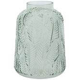 Green Leaf Etched Glass Vase