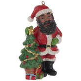Santa & Christmas Tree Ornament
