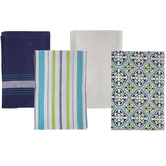 Striped & Tile Design Kitchen Towels