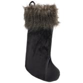 Gray Velvet & Faux Fur Stocking