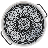 White & Black Medallion Metal Tray