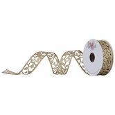 """Glitter Leaf Wired Edge Ribbon - 1"""""""