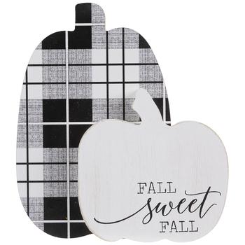 Fall Sweet Fall Plaid Pumpkin Wood Decor