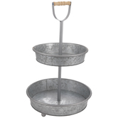 Galvanized Two-Tiered Metal Tray