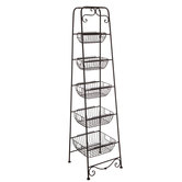 Black Five-Tiered Metal Basket Stand
