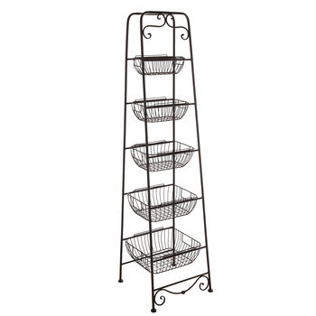 Black Five-Tiered Metal Basket Stand