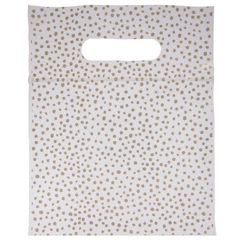 Gold Speckled Zipper Bags With Handles