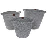 Gray & White Round Basket Set