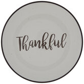 White & Brown Thankful Plate