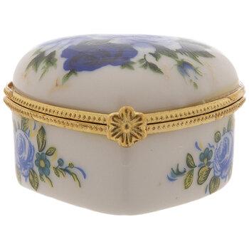Blue Floral Heart Trinket Box