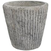 Gray Striped Cement Flower Pot