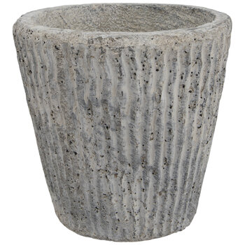 Gray Striped Cement Flower Pot