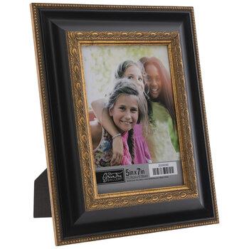 Black & Gold Beaded Scroll Frame