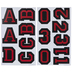 Black & Red Varsity Alphabet Stickers